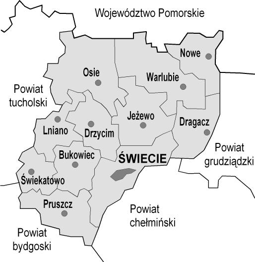 Powiat świecki - mapa